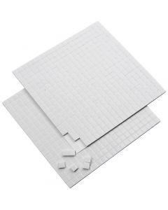 3D klæbepuder, str. 5x5 mm, tykkelse 2 mm, hvid, 2 ark/ 1 pk., 2x400 stk.