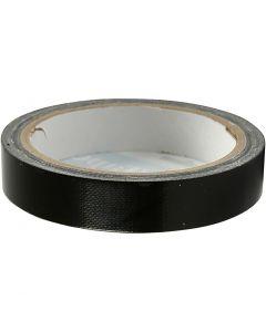 Lærredstape, B: 19 mm, sort, 25 m/ 1 rl.