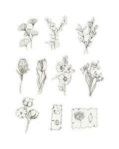 Washi stickers, sort/hvide blomster, str. 30-50 mm, 30 stk./ 1 pk.