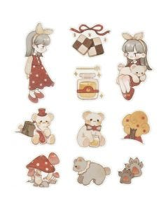 Washi stickers, bamser, str. 25-70 mm, 30 stk./ 1 pk.