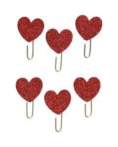 Klips , hjerter, diam. 30 mm, rød glitter, 6 stk./ 1 pk.