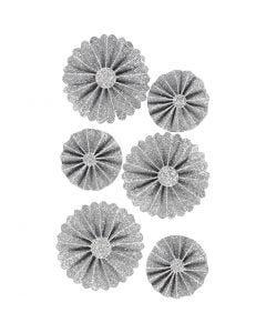 Rosetter, diam. 35+50 mm, sølv glitter, 6 stk./ 1 pk.