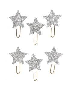 Klips , stjerne, diam. 30 mm, sølv glitter, 6 stk./ 1 pk.
