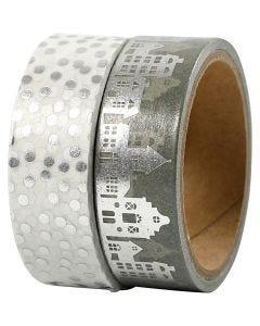 Masking Tape, huse og prikker - folie, B: 15 mm, sølv, 2x4 m/ 1 pk.