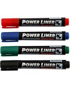 Permanent marker, sort, blå, grøn, rød, 4 stk./ 1 pk.
