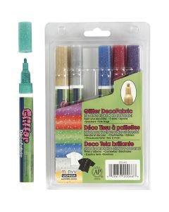 Deco tekstiltusch, glitter, streg 3 mm, glitterfarver, 6 stk./ 1 pk.