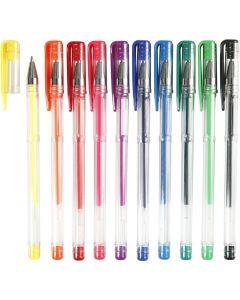 Gel kuglepen, streg 0,8 mm, ass. farver, 10 ass./ 1 pk.