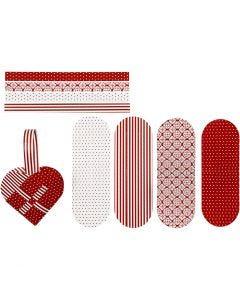 Flettede julehjerter, str. 14,5x10 cm, 120 g, rød, hvid, 8 sæt/ 1 pk.