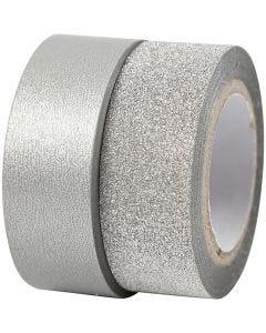 Designtape, B: 15 mm, sølv, 2 rl./ 1 pk.