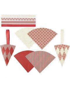 Flettede kræmmerhuse, H: 19,3 cm, B: 9,2 cm, rød, hvid, 8 sæt/ 1 pk.