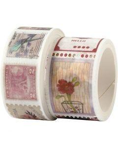 Masking Tape, Frimærke- og blomstermotiver, L: 3+5 m, B: 20+25 mm, 2 rl./ 1 pk.