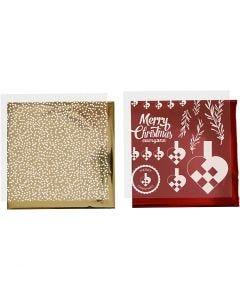 Dekorationsfolie og design limark, flettehjerter, 15x15 cm, guld, rød, hvid, 4 ark/ 1 pk.