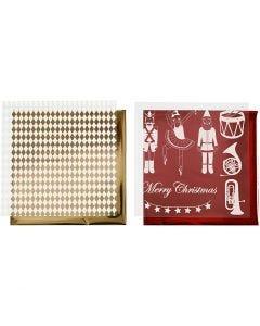 Dekorationsfolie og design limark, nøddeknækker, julemand og ballerina, 15x15 cm, guld, rød, hvid, 4 ark/ 1 pk.