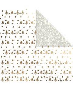 Designpapir, hjorte og prikker, 30,5x30,5 cm, 180 g, guld, 3 ark/ 1 pk.
