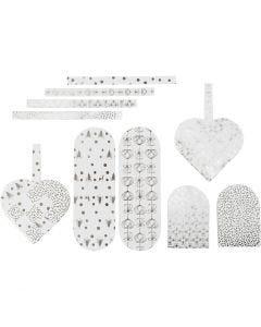 Flettede julehjerter, str. 12,5x11,5 cm, 120 g, sølv, hvid, 8 sæt/ 1 pk.