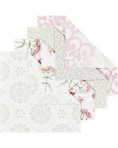 Origamipapir, str. 10x10 cm, 80 g, grøn, grå, lyserød, hvid, 40 ark/ 1 pk.