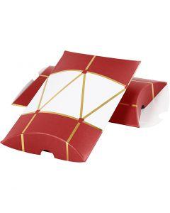 Gaveæske, tromme, str. 14,9x9,4x2,5 cm, 300 g, guld, rød, hvid, 3 stk./ 1 pk.