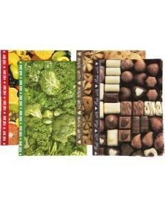 Decoupagepapir, 25x35 cm, 17 g, brun, grøn, gul, 8 ass. ark/ 1 pk.
