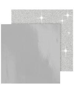 Designpapir , 30,5x30,5 cm, 120+128 g, sølv, 2 ark/ 1 pk.