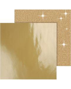 Designpapir , 30,5x30,5 cm, 120+128 g, guld, 2 ark/ 1 pk.