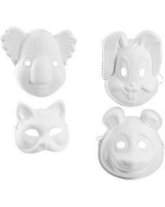 Masker, H: 17-25 cm, B: 18-24 cm, hvid, 4x3 stk./ 1 pk.