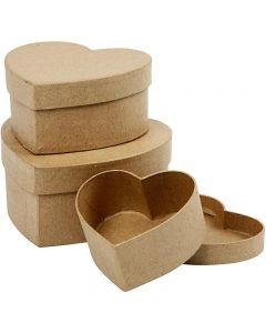 Hjerteæsker, H: 5+6,5+7,5 cm, diam. 10+12,5+15 cm, 3 stk./ 1 sæt