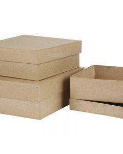Kvadratiske æsker, H: 5+6+7,5 cm, str. 16+18+20 cm, 3 stk./ 1 sæt