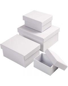 Rektangulære æsker, H: 3,5+4,5+5,5+6,5 cm, str. 8,5x11,5+11x14 cm, hvid, 4 stk./ 1 sæt