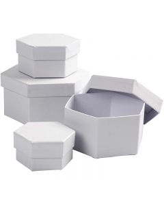 Sekskantede æsker, H: 4+5+6+7 cm, diam. 6,5+8+10+12 cm, hvid, 4 stk./ 1 sæt