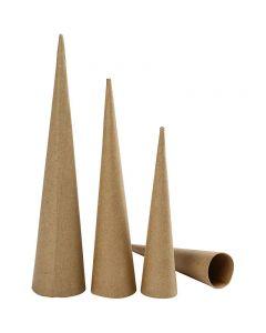 Høje kegler, H: 20-25-30 cm, diam. 4-5-6 cm, 3 stk./ 1 pk.