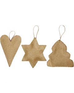 Juleophæng, hjerte, stjerne og juletræ, str. 8-9 cm, 9 stk./ 1 pk.