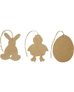 Påskeophæng, hare, kylling, æg, H: 10 cm, 6 stk./ 1 pk.
