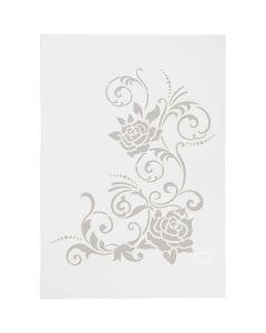Stencil, filigran blomster, A4, 210x297 mm, 1 stk.