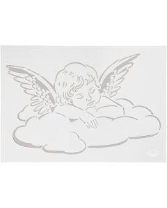 Stencil, engel på sky, A4, 210x297 mm, 1 stk.