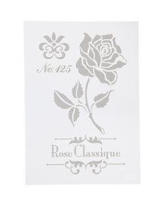Stencil, rose, A4, 210x297 mm, 1 stk.