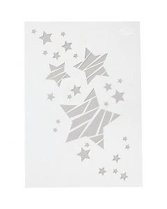 Stencil, stjerner, A4, 210x297 mm, 1 stk.