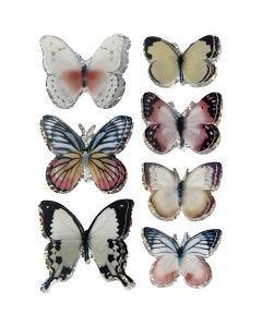 3D Stickers, sommerfugl, str. 26-48 mm, ass. farver, 7 stk./ 1 pk.