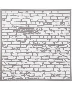Stencil, mursten, str. 30,5x30,5 cm, tykkelse 0,31 mm, 1 ark