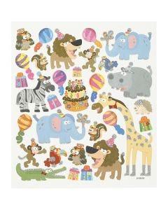 Stickers, dyrenes fødselsdag, 15x16,5 cm, 1 ark