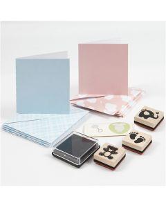 Kortsæt, lyseblå, lyserød, 1 sæt