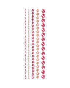 Halv-perler, str. 2-8 mm, pink, 140 stk./ 1 pk.