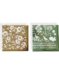 Dekorationsfolie og design limark, blomster, 15x15 cm, guld, grøn, 2x2 ark/ 1 pk.