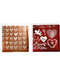 Dekorationsfolie og design limark, hjerter og kærlighed, 15x15 cm, rød, 2x2 ark/ 1 pk.
