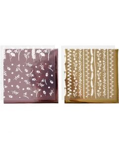 Dekorationsfolie og design limark, 15x15 cm, 2x2 ark/ 1 pk.