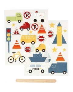 Rub on stickers, transport, 12,2x15,3 cm, 1 pk.