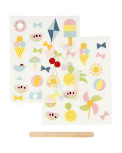 Rub on stickers, ferietid, 12,2x15,3 cm, 1 pk.