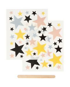 Rub on stickers, stjerner, 12,2x15,3 cm, 1 pk.