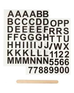 Rub on stickers, bogstaver og tal, H: 17 mm, 12,2x15,3 cm, sort, 1 pk.