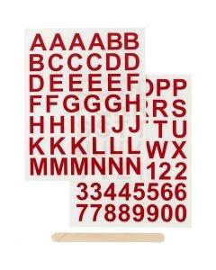 Rub on stickers, bogstaver og tal, H: 17 mm, 12,2x15,3 cm, rød, 1 pk.