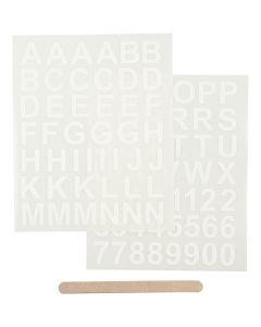 Rub on stickers, bogstaver og tal, 12,2x15,3 cm, hvid, 1 pk.